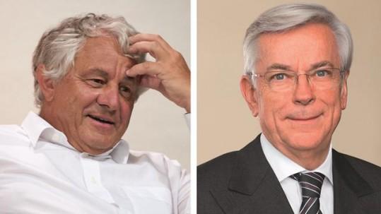 Links: Prof. Dr. h. c. mult. Hasso Plattner (Foto: SAP SE/Wolfgang Scheible). Rechts: Prof. Dr.-Ing. Joachim Milberg (Foto: BMW)